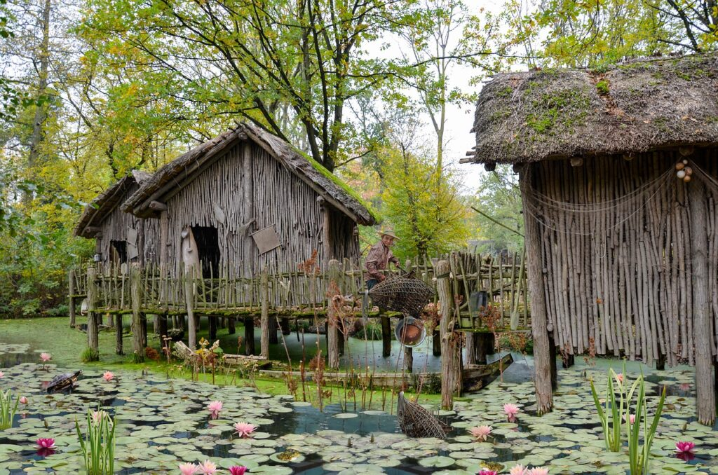 fishing village, hut, fisherman